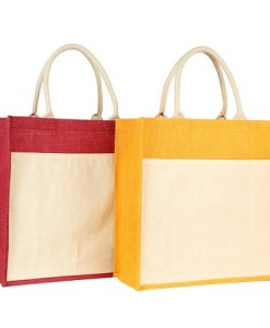 JB-016-Jute-Bag-with-Pocket-Yellow-Red