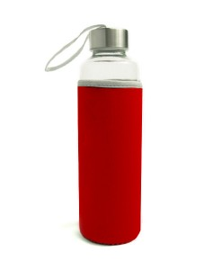 Travel Glass Bottle-Red